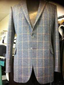 checked tweed suit. Clients made to measure tweed coat. Part of a three piece ensemble.