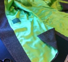 A nice lime green satin lining.