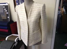 Closer picture of the lady's jacket.